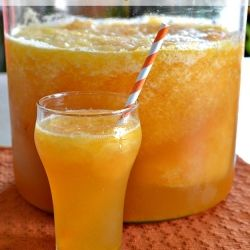 sparkling peach slush punch // ladybehindthecurtain.com #drink #recipe ...