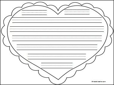 This is heart writing paper with print practice lines available FREE ...