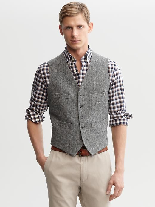 Gingham Shirt With Grey Vest Manly Clothing Pinterest