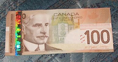 how to tell if 100 canadian bill is fake