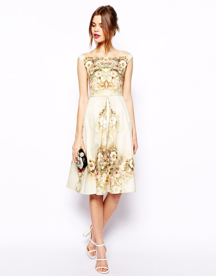 Asos vintage floral midi bardot dress in the fitting for Asos vintage wedding dresses