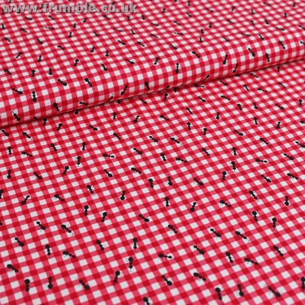 Ants on red gingham tablecloth sewing fabric pinterest for Frumble fabrics