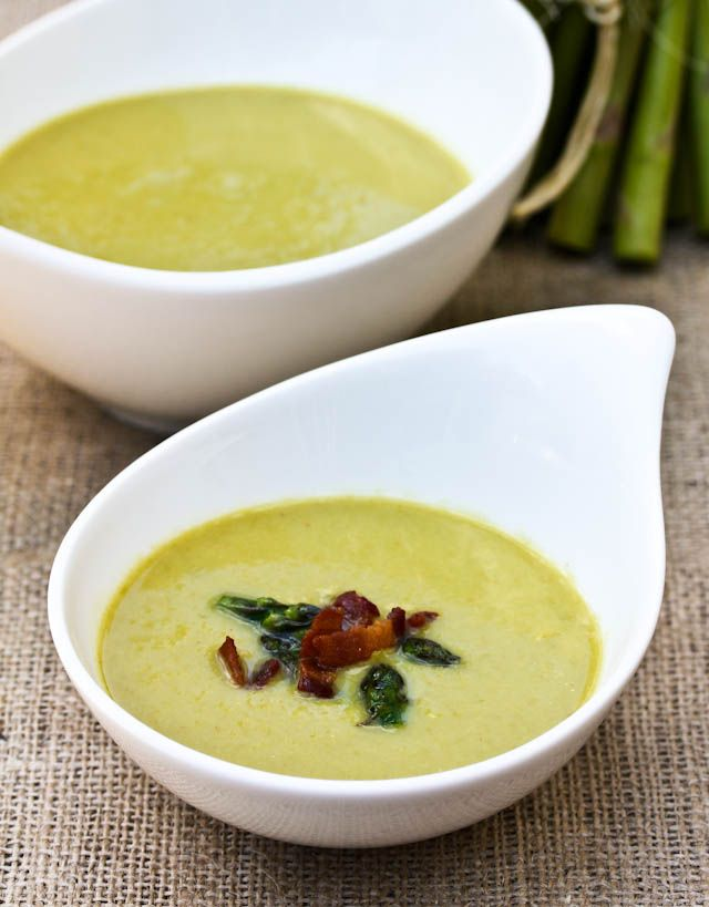 ... Creamy Asparagus Soup | ASpicyPerspective.com #soup #asparagus #light
