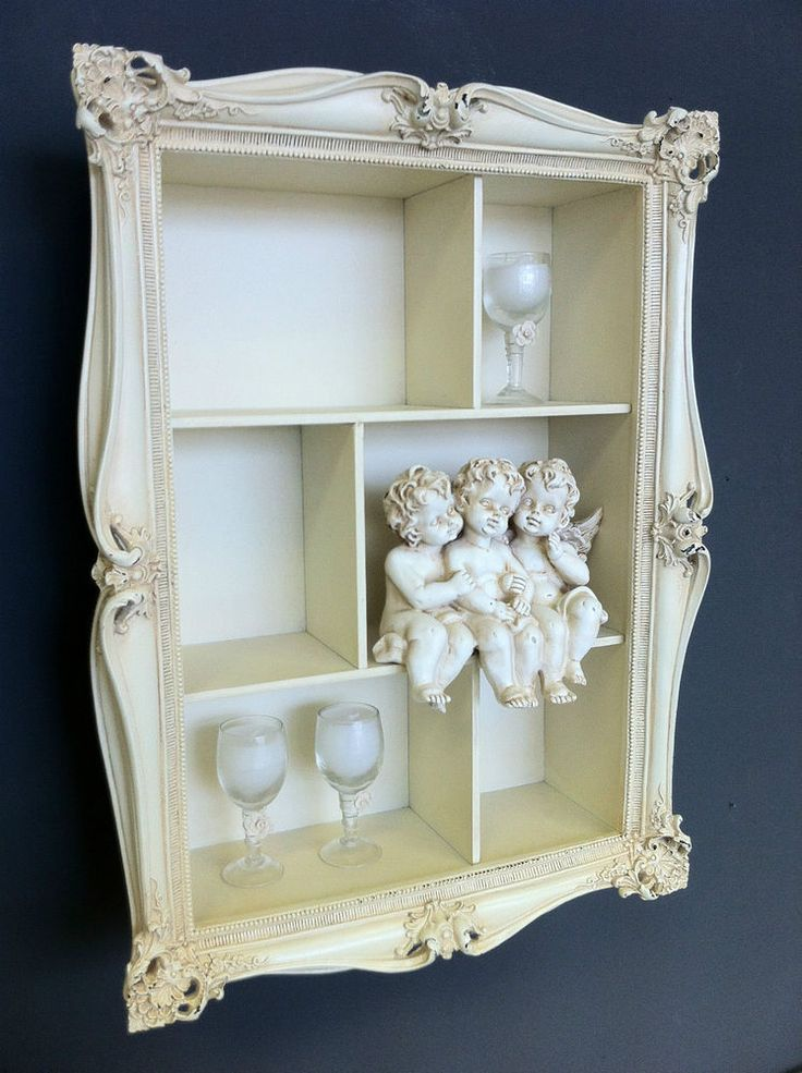 cream shabby wall shelf unit distressed vintage chic. Black Bedroom Furniture Sets. Home Design Ideas