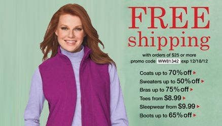 Woman within free shipping coupon codes
