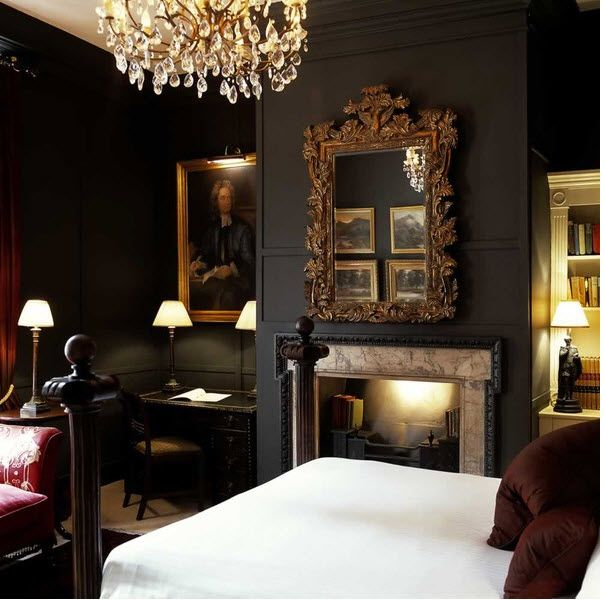Bedroom Bliss. Charcoal walls make this bedroom so cozy and chic. Interior Design: Hazlitt's Hotel, London.
