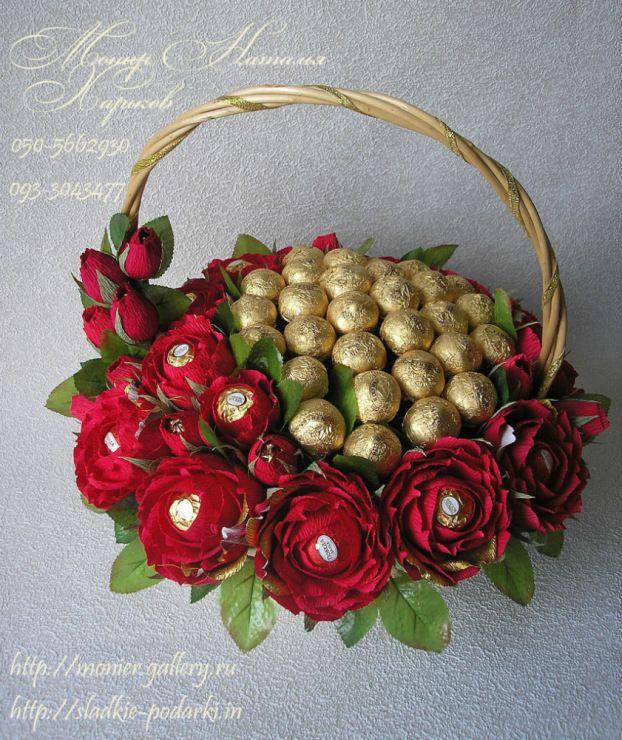 Корзина с цветов с конфетами