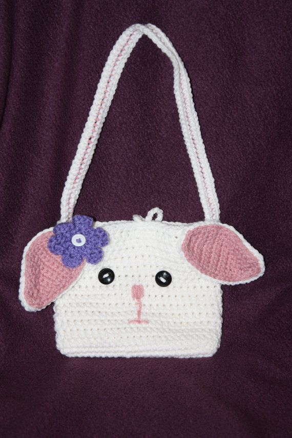 Crochet Purse For Child : Bunny purse with flower. Child size. Crochet. by TracyplusCrochet, $15 ...