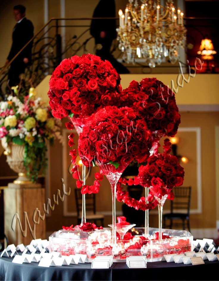 Hydrangea and red rose centerpieces pixshark