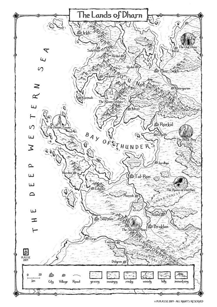 Black and white fantasy maps