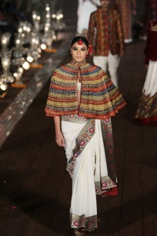 Rohit Bal SS 2015 - fav look 2. Cape + sari + bustier = great editorial look