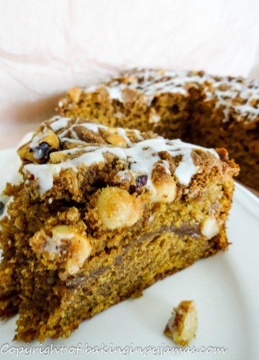 Pumpkin Coffee Cake with Brown Sugar Hazelnut Streusel