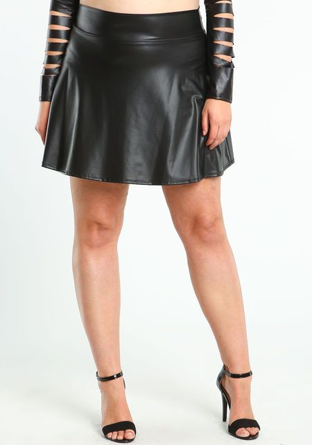 plus size faux leather skater skirt style