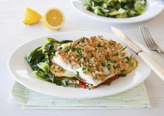 Baked haddock on potatoes with braised escarole - The Boston Globe