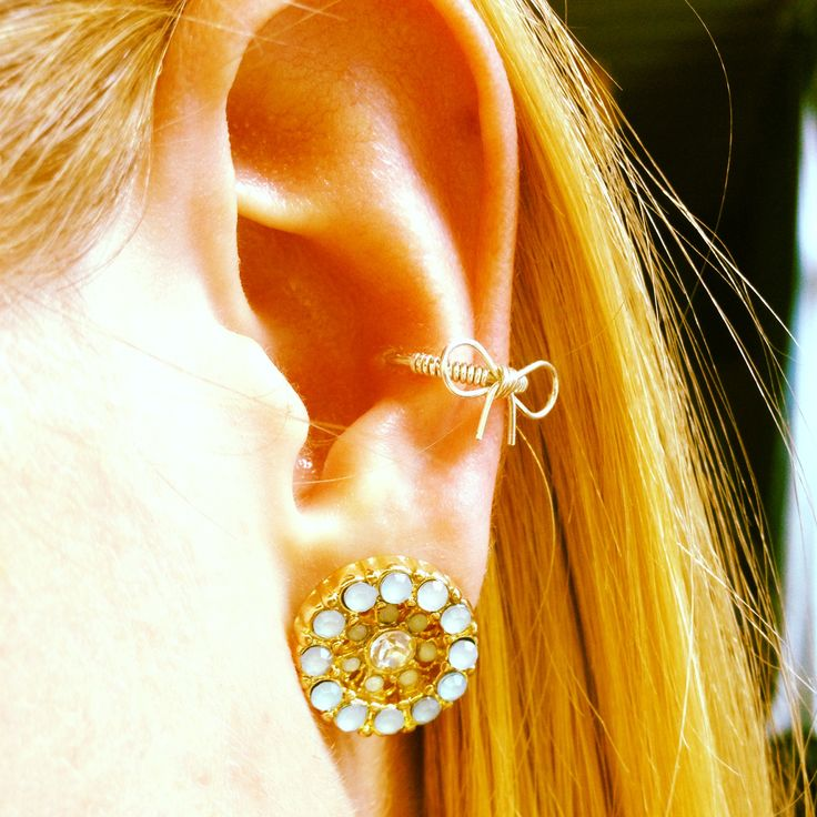 Conch piercing with bow cuff earring piercings pinterest