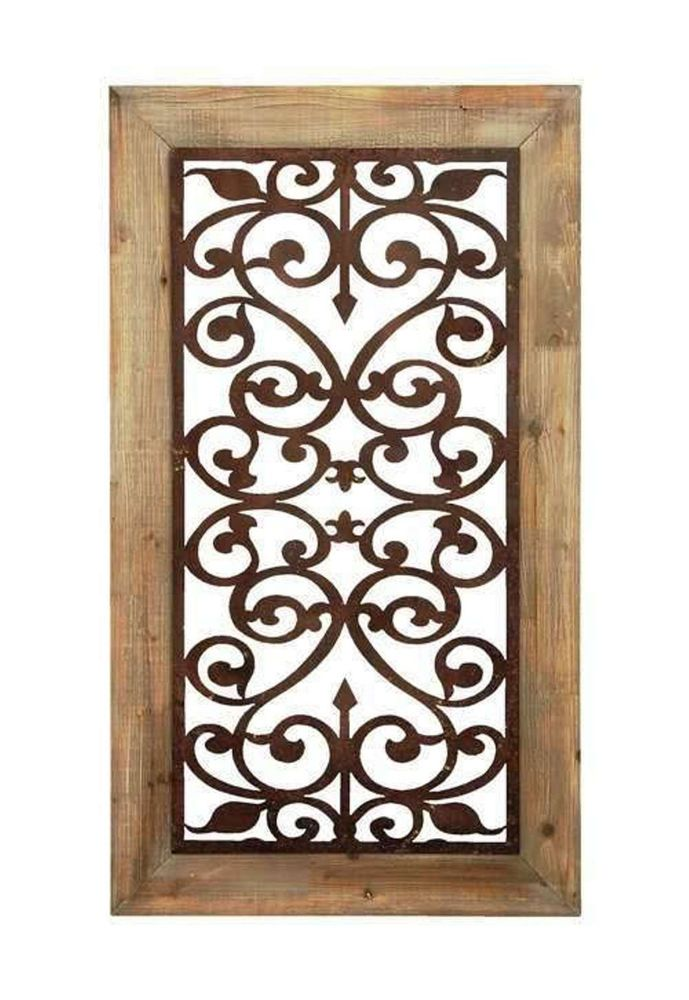Wooden Gate Wall Decor : Carved garden gate wall panel art decor framed open