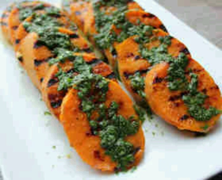 Grilled sweet potatoes with cilantro lime dressing