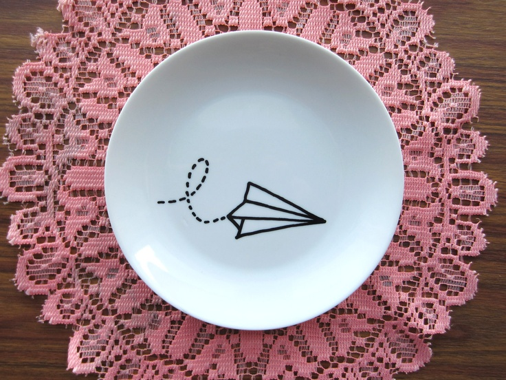 Paper Plane Hand Painted Decorative Wall Plate. | Pottery Painting