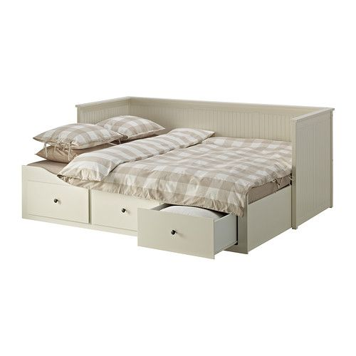 Hemnes daybed frame with 3 drawers white for Divan bed frame with drawers
