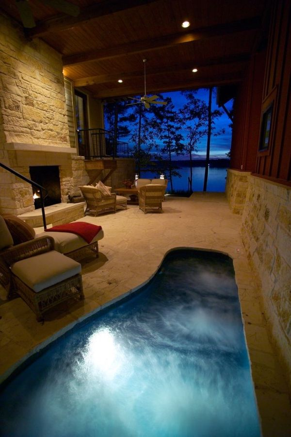 Indoor hot tub fireplace i like pinterest for Pool with fireplace