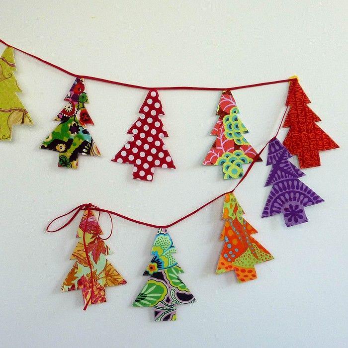 Christmas tree bunting garland cardmaking papercrafts - Guirnalda de navidad ...