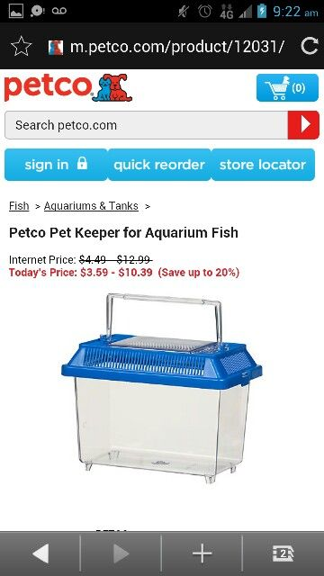 Petco pet keeper for aquarium fish