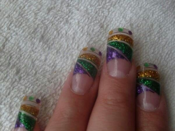Mardi Gras Nails | My New Orleans Saints Diva Den | Pinterest