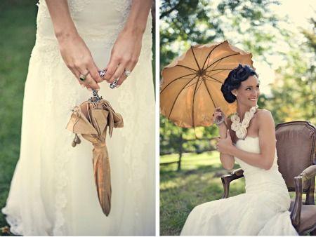 Hoy, vamos a tocar por un ratito un tema tabú: la lluvia en nuestra boda. Sabemos que es un tópico del que no queremos ni hablar, pero la realidad es que tenemos que contemplarlo. Para eso, vamos a ver cómo podés mantener todo tu estilo, complementando tu traje de novia con paraguas delicadísimos.