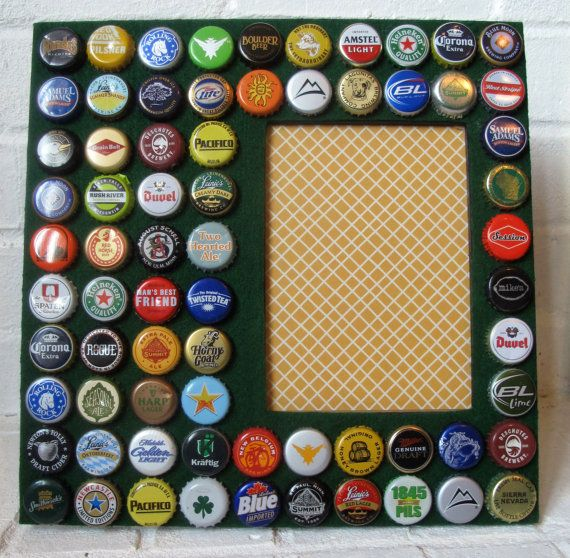 Picture frame beer bottle caps for Beer bottle picture frame