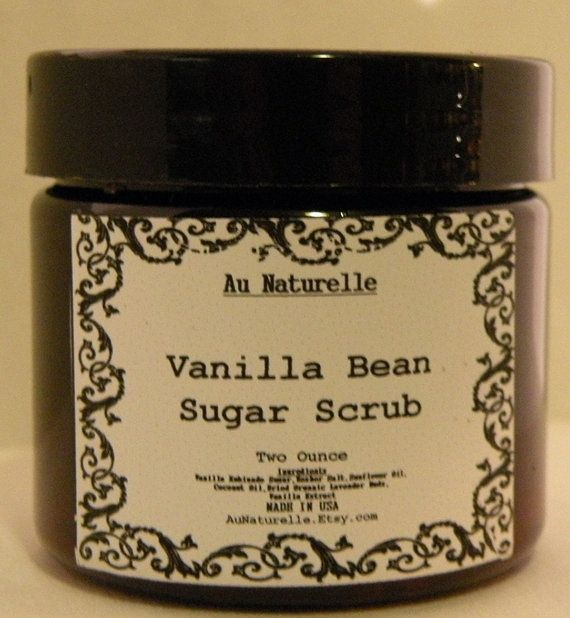 Vanilla Bean Sugar Scrub - All Natural - Two Ounce - Luscious - Skin ...