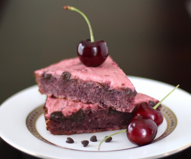Cherry Chocolate Chunk Blondies with Cherry Frosting | Recipe
