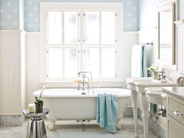 blue wallpaper and high beadboard