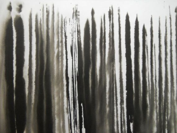 A3 contemporary modern abstract black and white ink wash for Black and white painting techniques