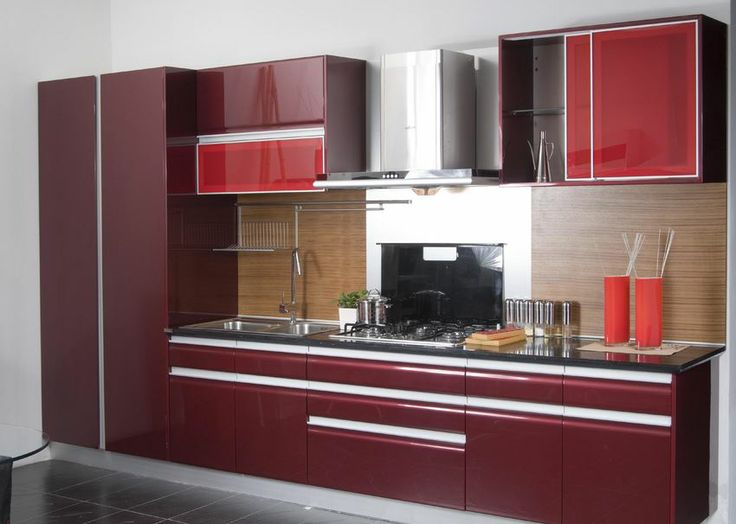kitchen cabinets maroon