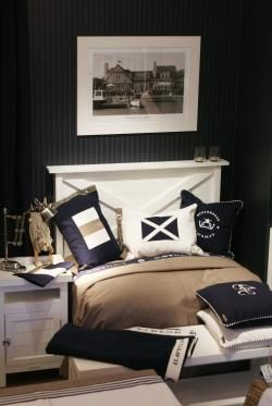 Nautical bedroom brown and navy interior design home - Navy blue and brown bedroom ...