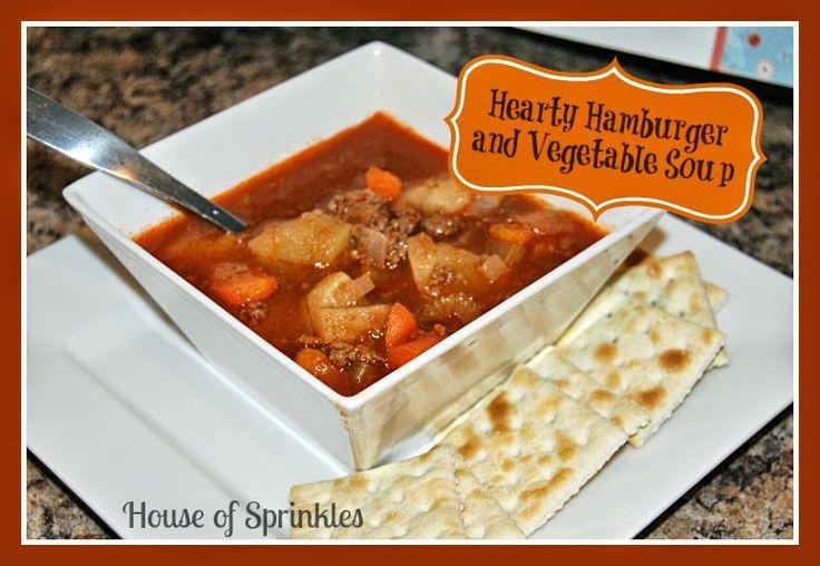 Hearty Hamburger and Vegetable Soup recipe. So tasty! | House of Sprinkles www.houseofsprinkles.com
