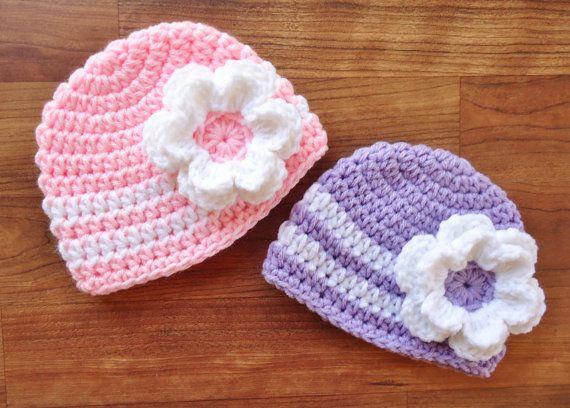 Crochet Hat Patterns For Twin Babies : Crocheted Baby Twin Hat Set - Twin Girl/Girl Hat Set, Baby ...