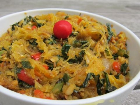 Onion, swiss chard, spaghetti squash and hot peppers with a little ...
