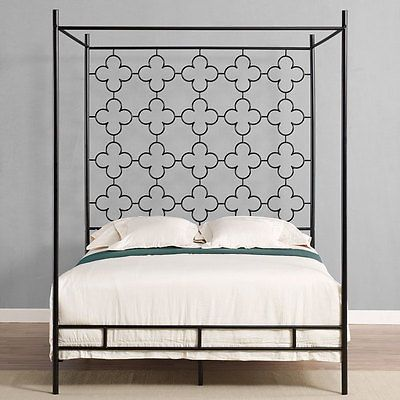 Classic Modern Black Metal King Size Canopy Bed Frame New