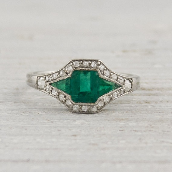 Vintage Diamond and Emerald Engagement Ring