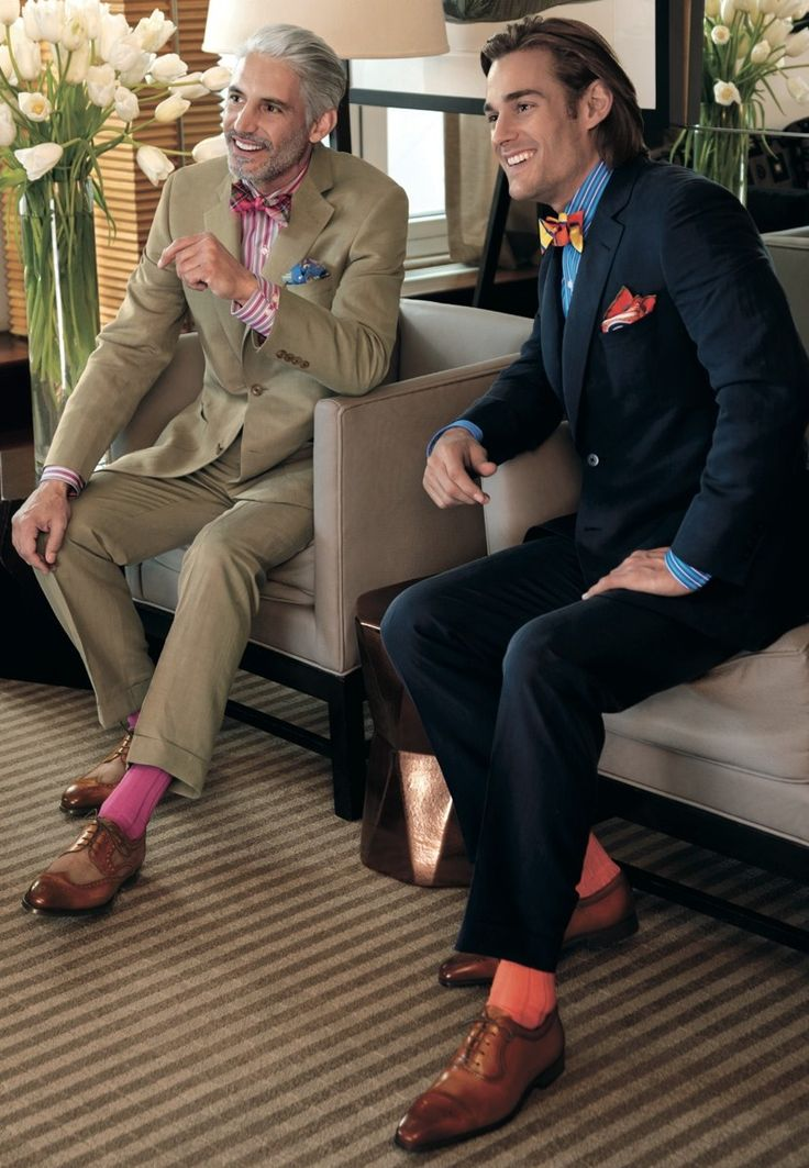 Paul Stuart SS 2013 -- (Not a big fan of the recent cazsh-bow trend, but this semi-form is a pretty good look, the one on the right at least. + bright socks should be pulled off w/ subtlety, don't match your socks w/ your shirt & tie, let it give contrast.)