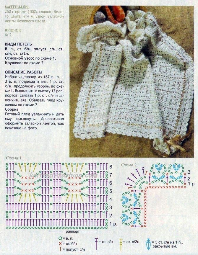 Вязание крючком пледа для новорожденных схемы 3593