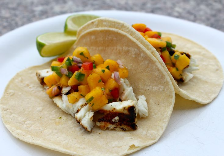 Grilled Halibut Tacos with Peach Salsa. Peach recipe curated by ...