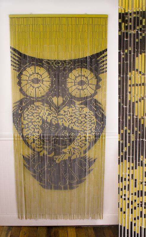 Hand painted 'Owls' bamboo beaded curtain from Earthbound Trading Co.
