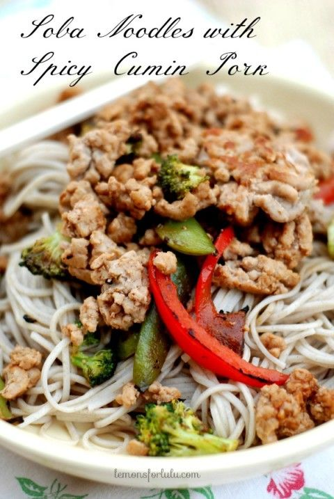 Spicy ground pork served with veggies and Japanese Soba Noodles www ...