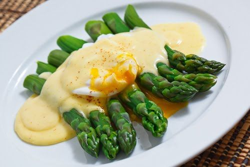 Asparagus with a Poached Egg and Hollandaise Sauce