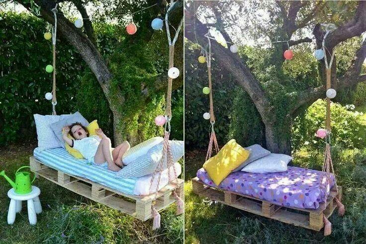 Pallet wood swing garden pinterest for Outdoor pallet swing bed