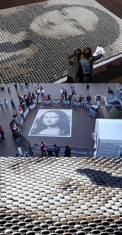 Mona Lisa Made from 3604 Cups of Coffee