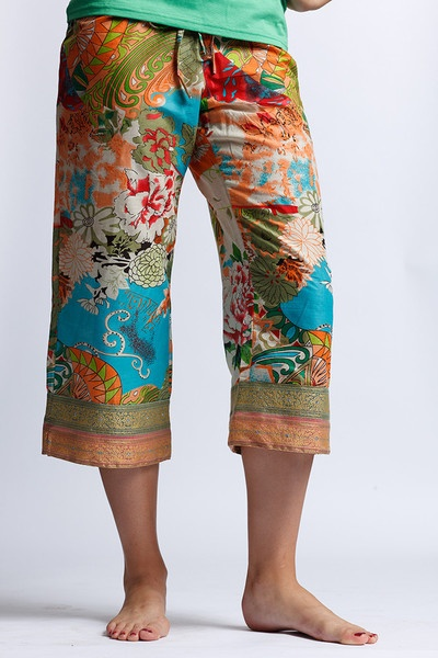 AAMANI Capri (bright, floral cotton with sari border)    PUNJAMMIES™ by International Princess Project. Pajamas handmade FOR women BY women with hope from India. They advocate for women enslaved in prostitution; Restore their broken lives; and, Empower them to live free.  ---> www.punjammies.com