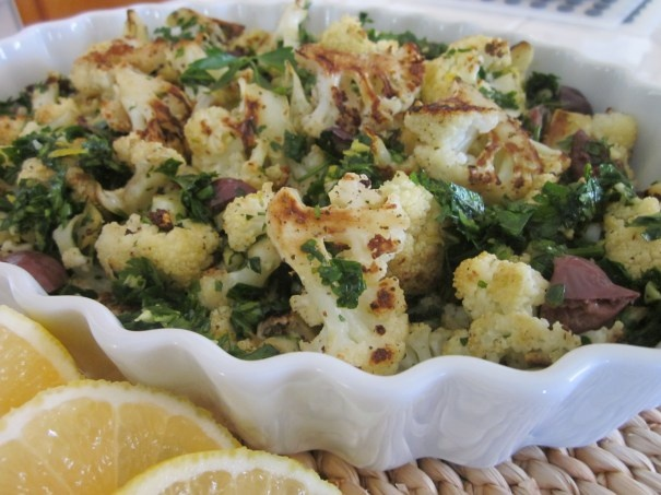 Roasted Cauliflower with Kalamata Olives and Lemon-Parsley Gremolata